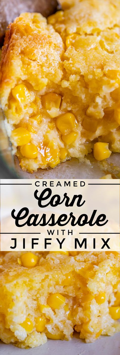 Sweet Creamed Corn Casserole (with Jiffy Mix) from The Food Charlatan. This easy Creamed Corn Casserole recipe is made with a store bought Jiffy cornbread mix. It's SO good! If you grew up with this Thanksgiving side dish you know what I'm talking about. It is creamy, corny, custardy, and sweet. It's the perfect compliment to a holiday meal, but I also love serving it with a bowl of chili! #recipe #easy #corn #cream #casserole #jiffy #mix #baked #Thanksgiving #Christmas #sweet #sourcream #best