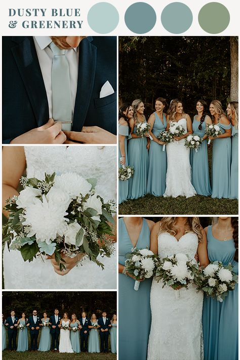 Need some dusty blue and sage greenery inspiration for your wedding? This color palette is just the scheme you need! Sage and dusty blue are all things trendy for 2020 weddings, and I don't mind it! Wedding Palette, Wedding Color Schemes, Color Themes For Wedding, Spring Wedding Themes, Wedding Ideas Blue, Navy Tux Wedding, Wedding Color Palettes, Spring Weddings, Wedding Ties