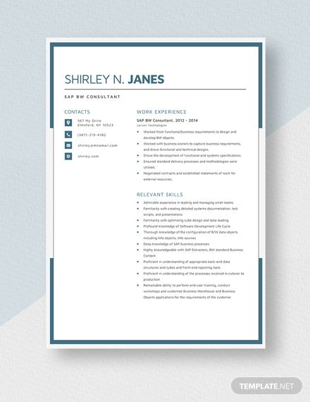 Sap Bw Consultant Resume Template 2020
