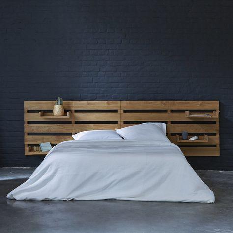 la tête de lit en bois avec étagère table basse de chevet intégrée - blog déco - clemaroundthecorner
