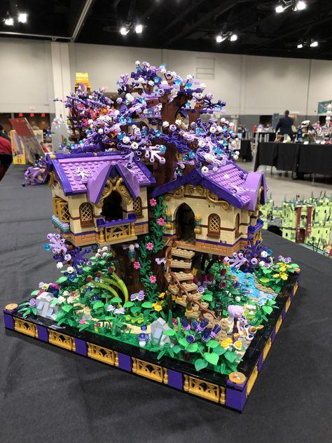 Elves treehouse, based on the Elvenstar Treehouse set. Lego Ninjago, Minifigures Lego, Lego Duplo, Lego Design, Lego Moc, Lego Minecraft, Minecraft Buildings, Lego Batman, Lego Marvel