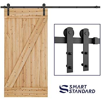 Smartstandard 8ft Heavy Duty Sturdy Sliding Barn Door Hardware Kit Smoothly And Quietly Simple Sliding Barn Door Hardware Sliding Door Hardware Door Hardware