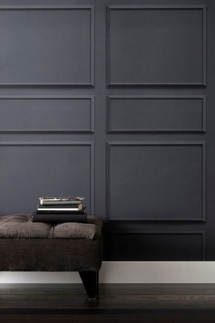 Paste The Wall Grey Panel Wallpaper From Next Uk Online Grey Wallpaper Designs Wallpaper Living Room Grey Panels