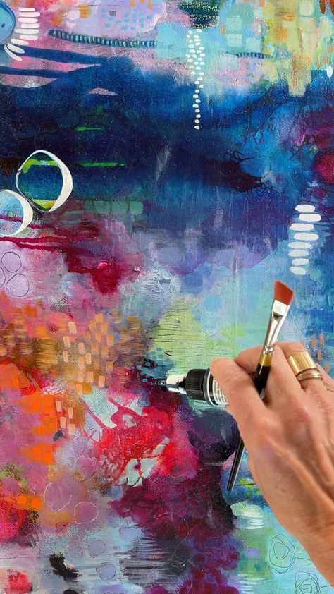 Dreamy colors + inks: Abstract painting