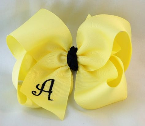 Yellow and Navy Monogram Hair Bow