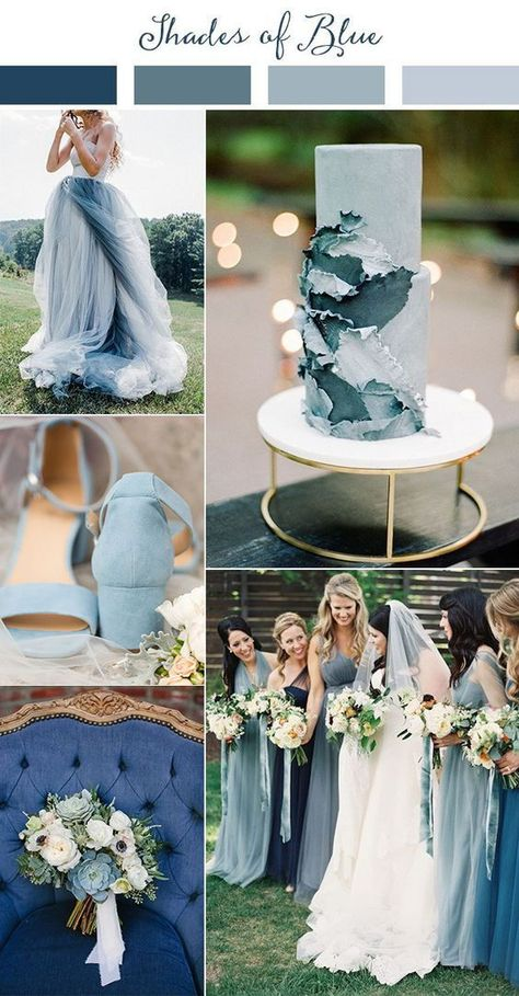 Summer Wedding Dresses shades of blue wedding color ideas for 2019 - Planning a 2019 wedding? Come get inspired by these gorgeous 2019 wedding color palette ideas! This year we're finding inspiration from all over the world.