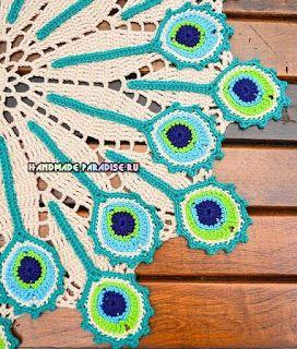 Closet For Crocheted Napkin مفرش كروشية بألوان ريش الطاووس Crochet Crochet Home Peacock Crochet
