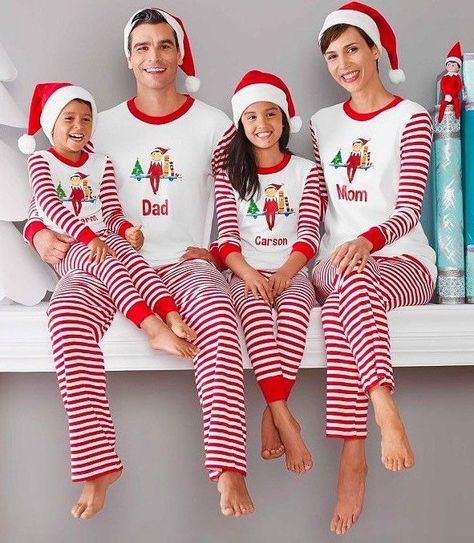 Family Christmas Pajamas 2019 Uk.Family Matching Christmas Pajamas Pjs Sets Striped Xmas