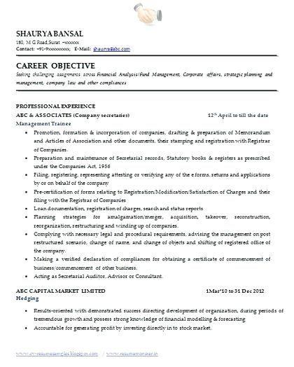 Secretary Resume Format Company Secretary Resume Format