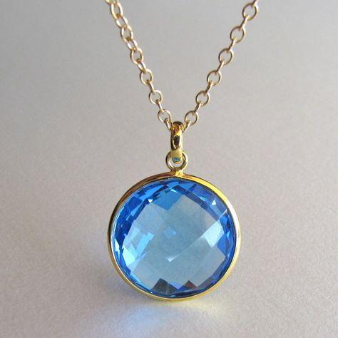 marine blue quartz pendant necklace