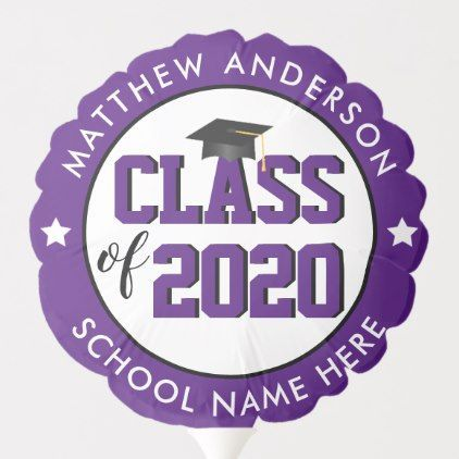 Graduation Class of 2020 PURPLE Party Balloons Decoration Supplies PERSONALIZE