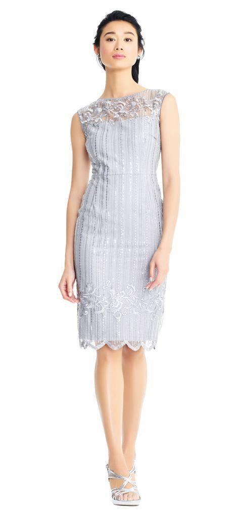 Adrianna Papell Ap1e203525 Embellished Knee Length Fitted Dress In 2020 Elegant Dresses Short Dresses Cocktail Dress