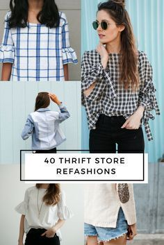 Love thrifting and sewing? These 20 thrift store clothes refashion DIYs are the … Love thrifting and sewing? These 20 thrift store clothes refashion DIYs are the perfect blend of handmade and thrift store style. Diy Clothes No Sewing, Thrift Store Diy Clothes, Thrift Store Refashion, Diy Summer Clothes, Diy Clothes Refashion, Shirt Refashion, Thrift Stores, Refashioned Clothes, Sewing Diy