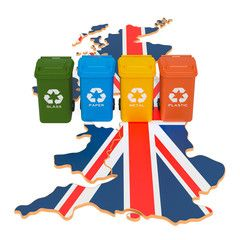 Waste Recycling In The United Kingdom Colored Trash Cans On The