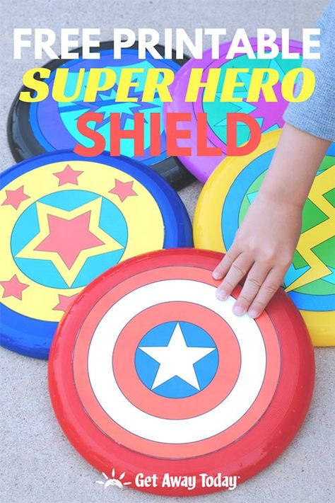 DIY Shield Make your own super hero shield with only a Frisbee and our free shield logo printables. Create an iconic Captain America shield or represent your own unique super hero with a variety of super hero shield template optio. Batman Logo, Lego Batman, Spiderman, Avenger Party, Avengers Birthday, Superhero Birthday Party, Superhero Party Favors, Spy Party, Fourth Birthday