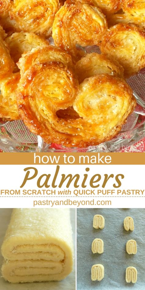Palmier Pastry-You can learn how to make palmier recipe from scratch with quick puff pastry. This delicious sugar palmier pastry is so easy to make with simple ingredients!  #palmiers #recipe #howtomake #easy #simple #fromscratch #quickpuffpastry #sugar