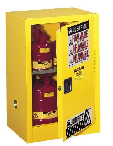 Justrite Sure Grip Ex 891200 Safety Cabinet For Flammable Liquids 1 Door 1 Shelf Manual Close 12 Gallon 35 He Storage Cabinets Storage Adjustable Shelving