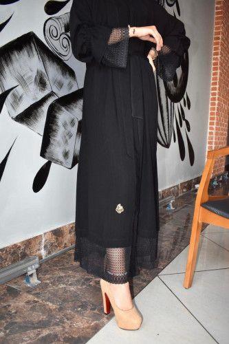 عباية خيال بخطوط صغيرة دانتيل في الكم وأسفل العباية وعلى الطرحة مع ربط Fashion Skirts Midi Skirt