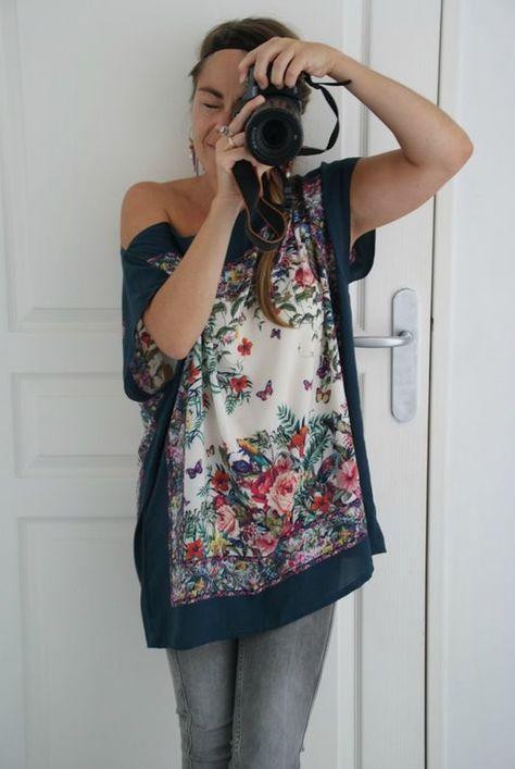 The scarf-retro-bohemian tunic - Frénésie and me   - mesecharpes.com - #brand #clothes #clothing #fashionblogger #streetstyle #style -  La tunique-foulard-rétro-bohème – Frénésie et moi    DIY tutorial a pretty tunic with 2 scarves sewn in 5 mn     - #Style #Woman #Fashion #Clothing
