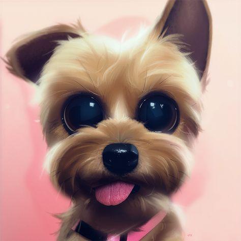 Cartoon, Portrait, Digital Art, Digital Drawing, Digital Painting, Character Design, Drawing, Big Eyes, Cute, Illustration, Art, Dog, Doggy, Doggo, Tongue