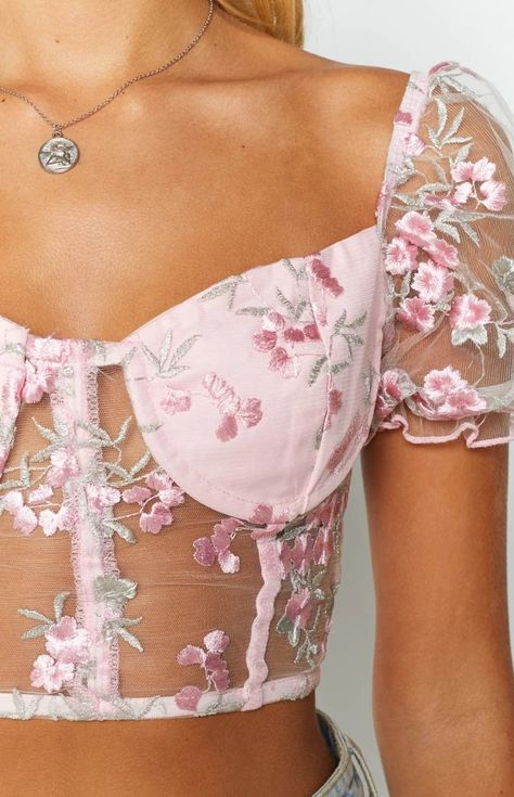 Go Bang Festival Crop Pink Floral Mesh – Beginning Boutique style fashion fashionista beauty trends runway catwalk fitness clothes clothes cute clothes for women clothes lululemon Aesthetic Fashion, Aesthetic Clothes, Look Fashion, Fashion Outfits, Womens Fashion, Fashion Design, Floral Fashion, Steampunk Fashion, Gothic Fashion