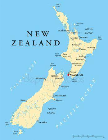 Politieke Kaart Van Nieuw Zeeland Map Of New Zealand South
