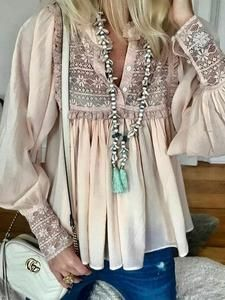 Pink Guipure Lace Long Sleeve V Neck Blouse-#blouse #guipure #lace #Long #Neck #Pink #sleeve