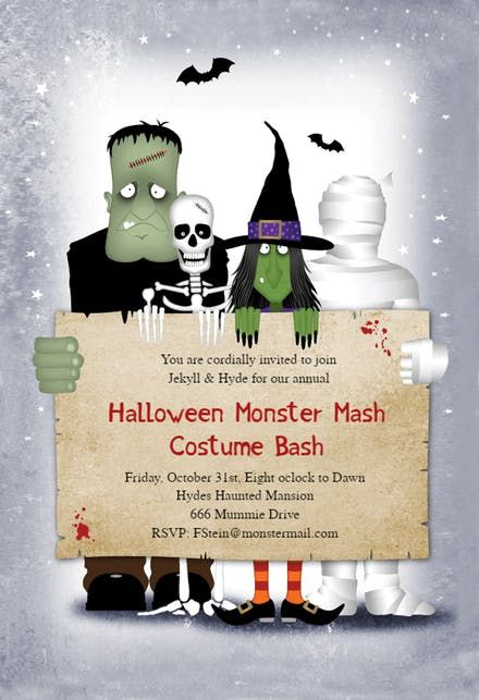 Monster Masquerade Halloween 2020 Update Monster Masquerade   Halloween Party Invitation Template (Free