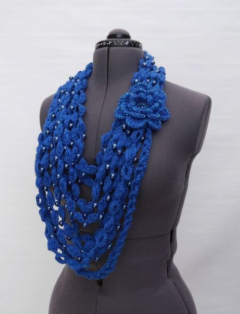Crochet Women Transformer Cashmere Scarf Royal Blue with Pearl glass beads