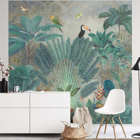 Create an epic focal point in your room, with the fully self-adhesive wallpaper mural: 'Deep in Exotica'. Each wallpaper is available in a choice of 2 sizes; 150cm x 150cm (XL) or 200cm x 200cm (XXL), and is supplied in 2 self-adhesive pieces. Install on your wall in less than 15 minutes. For each item sold, one tree is planted. This helps to offset carbon released during production and shipping, and to create a net positive contribution over the tree's lifetime. Transform your home, and our pla