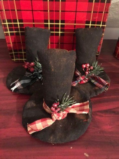 Primitive Snowman Hats Bowl Filler, Ornie, Tuck, Shelf Sitter