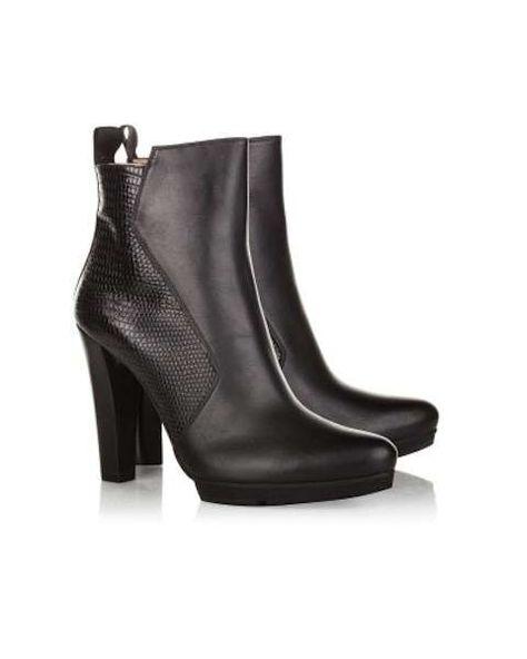 Collezione scarpe Pura Lopez Autunno Inverno 2015-2016 - Ankle boots in  pelle nera con tacco f5de01f6e59