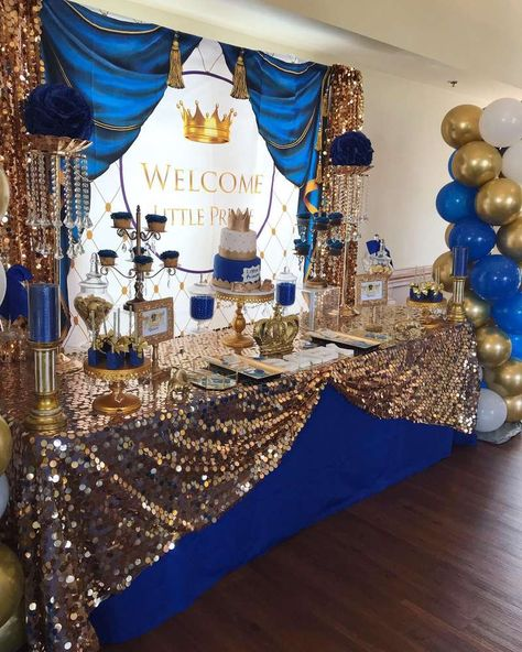 Lakia P's Baby Shower / Royal Prince - Photo Gallery at Catch My Party Royal Baby Shower Theme, Royalty Baby Shower, Baby Shower Pin, Baby Shower Winter, Boy Baby Shower Themes, Baby Shower Gender Reveal, Baby Shower Parties, Prince Themed Baby Shower, Royal Baby Party