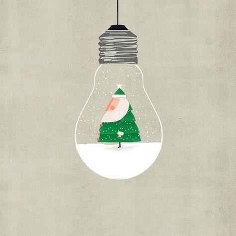 Santa In The Bulb Art Print
