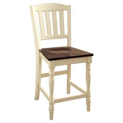 Sun Pine Cottage Style Wooden Counter Chair Wood Vintage White Dark Oak Set Of 2