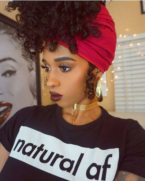 Many Natural Ladies Also Wrap Their Pineapple In A Satin Scarf Or Bonnet To Protect Their Hair From The Knots Natural Hair Styles Curly Hair Styles Hair Styles