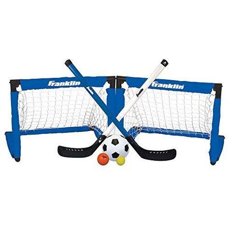 Franklin Sports Indoor Goal Set Includes 2 Adjustable Hockey Sticks 2 Foam Hockey Balls 1 Street Hockey Ball And 1 Hockey Goal Street Hockey Hockey Stick