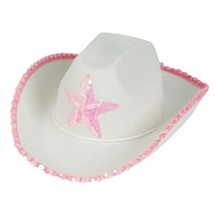 Amazon.com   White Felt Cowgirl Cowboy Hat With Pink Star   Childrens  Costume Headwear And Hats   Toys   Games 6114cc6ef99