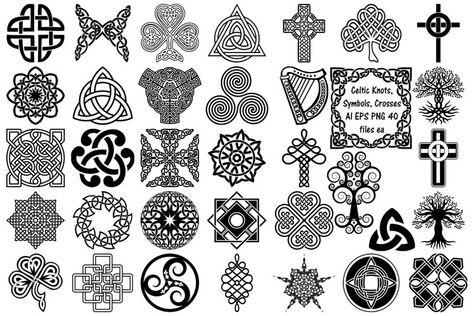 Celtic Symbols, Knots & Crosses AI EPS PNG, Irish Clip Art (242073)   Illustrations   Design Bundles
