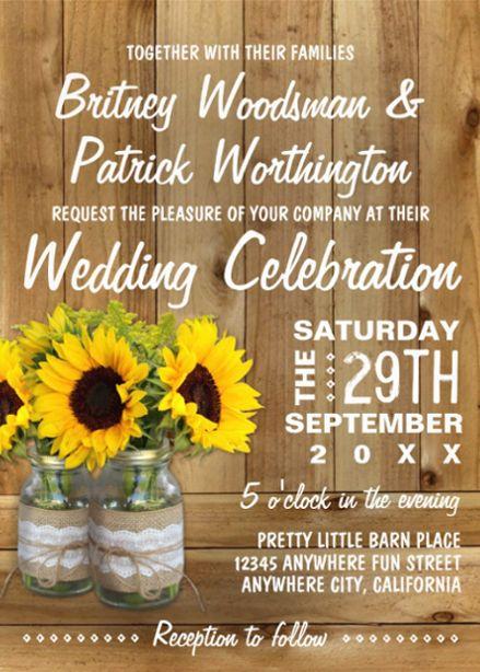 Sunflower Wedding Invitations With Images Sunflower Wedding