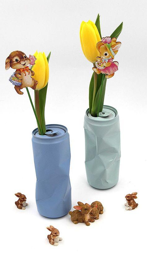 Photo of Osterdeko basteln – Vasen selber machen aus Getränkedosen – Happy Dings – Happiness & DIY Blog
