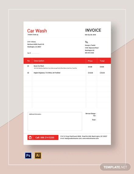 Car Wash Service Invoice Template Free Pdf Google Docs Google Sheets Excel Word Template Net Invoice Template Brochure Design Layouts Invoice Template Word