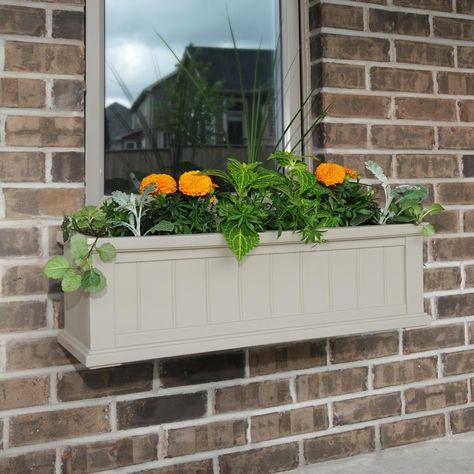 Mayne Self Watering 11 In X 36 In Clay Cape Cod Window Box Window Planter Boxes Backyard Outdoor Decor