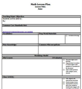 Common Core Lesson Plan Template Common Core Math Pinterest - Otes lesson plan template