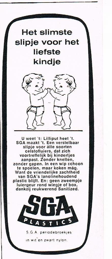 Oude advertentie SGA luierbroekjes en strikslips 1970