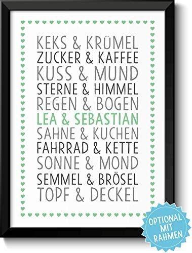 Love Geschenke personalisiert mit Namen zur Verlobung Jahrestag f/ür Sie /& Ihn I Optional mit Farbe