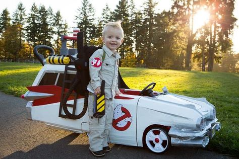 Ghostbusters toddler costume (the Ecto-1 is a pushcar!) #halloween