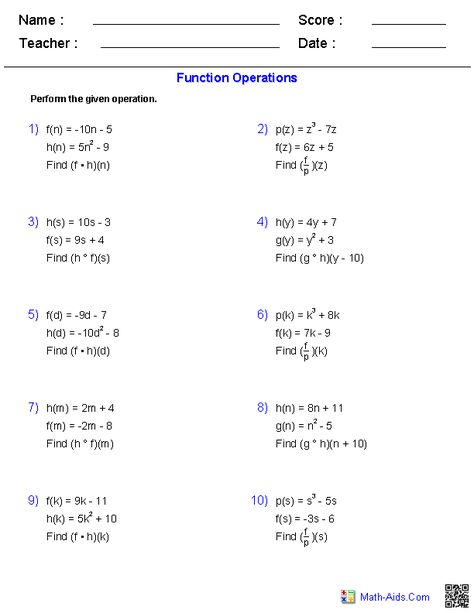 Function Operations Worksheets | Algebra 2 worksheets ...