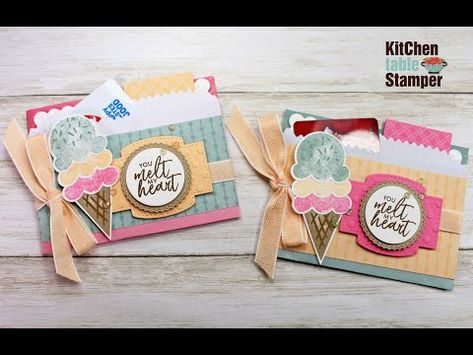 How to make a Treat Bag Gift Card Holder Sweet Ice Cream from Stampin' Up! Kitchen Table Stamper - YouTube