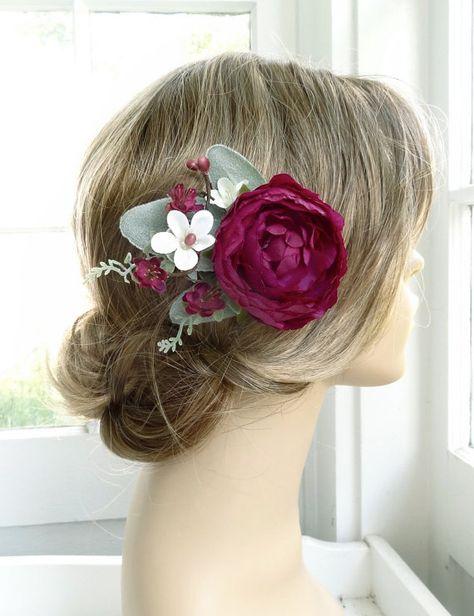 bridal hair comb plum wedding hair piece purple by ...
